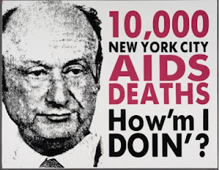 Images like these were used in protest against the mayor during the early days of the AIDS epidemic (courtesy of Gay Men's Health Crisis)